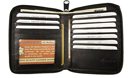 Id Genuine Bifold Zip Credit Wallet Black Around Leather Euro Hipster Mens Card fqgd8HOWg