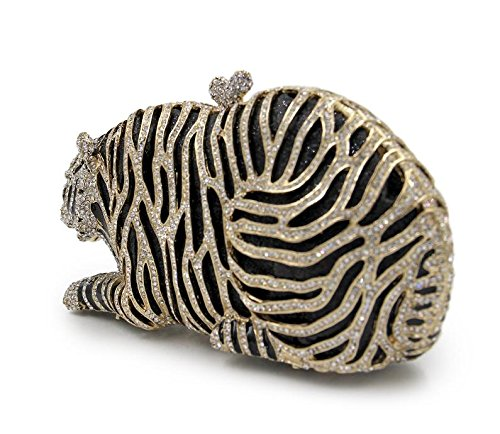 for Clutch Rhinestone Party Handbag Evening Purse LightGold Tiger Wedding Clutch Bling Bag Mini Clubs qwzFTHxx