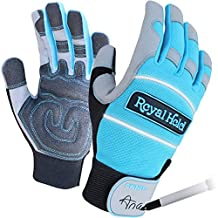 Medium Womens Yard / Work / Gardening Gloves by Royal Hold - Teal / Silver / Black - 4 Sizes - Breathable, Padded Gloves. Taylor Made Work Gloves Women Size Hands will find Comfortable.