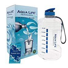 AquaLife Half Gallon Water Bottle Motivational Fitness Workout with Blue Time Marker Drink More Daily Clear BPA Free Reusable Leak Proof Drinking Jug for Outdoor Camping Plastic Sports Marked 73oz
