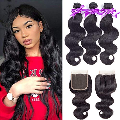 Brazilian Body Wave 3 Bundles with Closure (10 12 14+10 Three Part)100% Unprocessed Human Hair Bundles with Lace Closure Natural Black Color