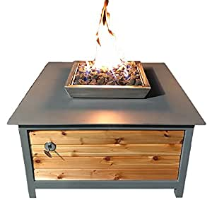 "IMPACT Fire Table, Heavy Duty Steel, Square, 36""x36"", Mock Rock Gray Powder Coated Frame, Western Red Cedar Side Panels, Propane Fire Pit, Firepit. Modern, Industrial Design. Made in the USA."