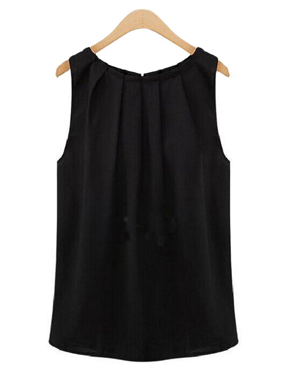 Cibeat Camisa sin mangas de la gasa del cuello redondo de las mujeres Jersey con estilo Base camisa Tops regalo at Amazon Womens Clothing store:
