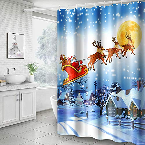Hoomall Shower Curtain, Christmas Santa White 71x71 Inch Decorative Bath Curtain Durable with Hooks Fabric Waterproof Muilt Function