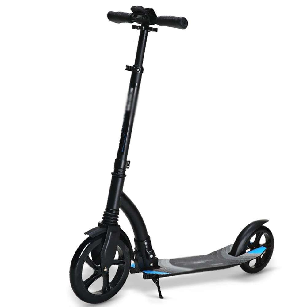 Kick Scooters Adult Height Adjustable, Scooters 2 Wheels Travel Lightweight, One-Click Folding (Color : Black) by Kick Scooters