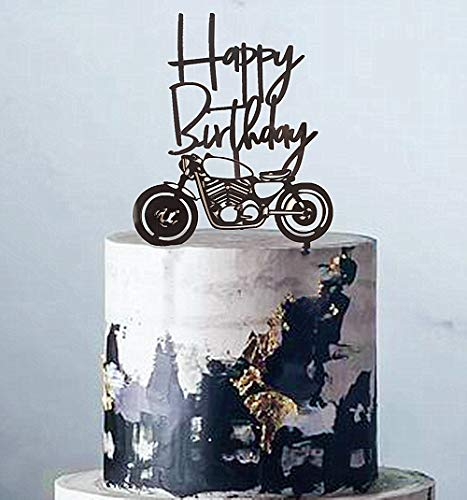 Set of 2 JeVenis Acrylic Black Motorcycle Cake Topper Scooter Happy Birthday Cake Topper for Mans Birthday Party or Boys Birthday