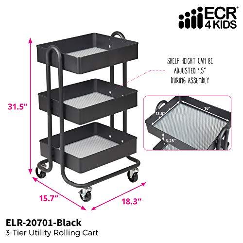 ECR4Kids 3-stöckiger Rollwagen aus Metall – strapazierfähiger mobiler Aufbewahrungs-Organizer, schwarz