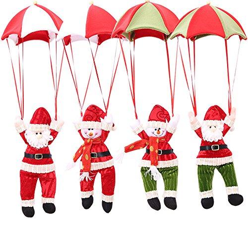 wisvooo Christmas Tree Hanging Santa Claus Snowman in Parachute Decoration Indoor Outdoor, Xmas Ornament Santa Snowman Pedant Doll Toy (4 Pack) (Santa Parachute Ornament)