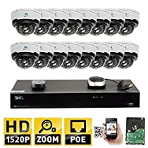 GW Security 16CH H.265 4K NVR 4-Megapixel (2592 x 1520) 4X Optical Zoom Network Plug & Play Video Security System, 16pcs 4MP 1520p 2.8-12mm Motorized Zoom POE Weatherproof Dome IP Cameras
