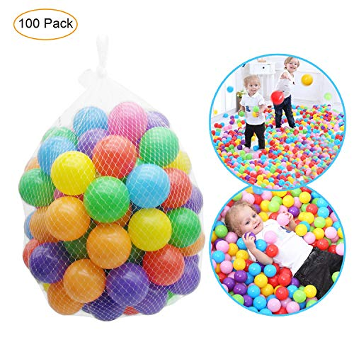 Yiba Made 100 Pack Plastic Balls for Ball Pit Baby Ball Pit Balls with Non Toxic Color Plastic Balls for Kids Toddlers with Phthalate Free BPA Free Crush-Proof