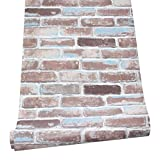 HaokHome H018 Faux Brick Peel Stick Wallpaper Rust Red/Blue/WhiteSelf Adhesive Prepasted Contact Paper Wall Decoration