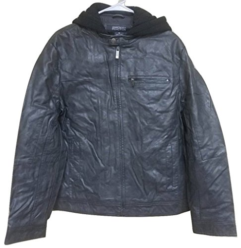 Kenneth Cole REACTION Men's Marbled Faux Leather with Fleece Hood (XXLarge, Coal) (Kenneth Cole Reaction Sweatshirt)