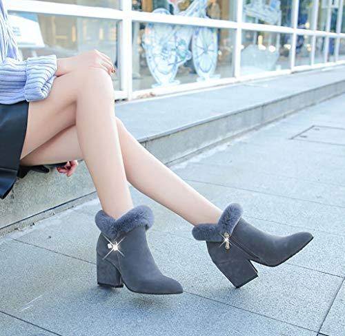 39 Martin Hoe bottes Pour Européenne Américaine couleur Chaud Tube Femme Talons Avec Et Chaussures Taille Mode De A épais Bottes A Course Sauvage Femme Bas Hauts Hiver Des Automne rptHnrqxUw