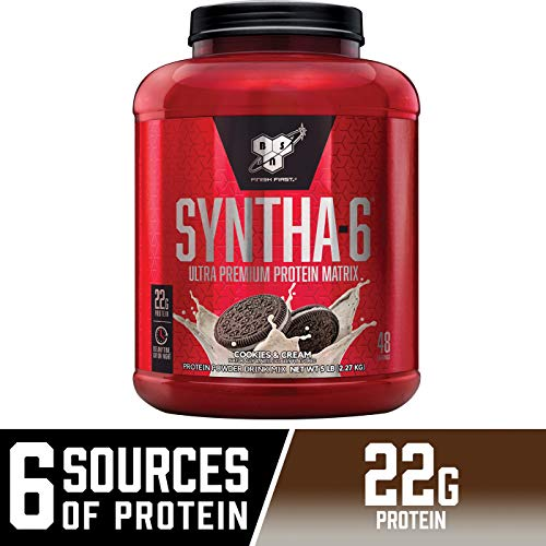 BSN SYNTHA-6 Whey Protein Powder, Micellar Casein, Milk Protein Isolate Powder, Cookies and Cream, 48 Servings (Package May Vary)