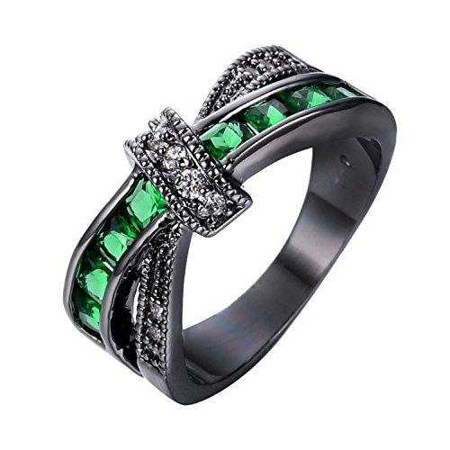 Tacori Cross 18k (Delatcha Men Green Cross Ring White Black Gold Filled Jewelry cz engagement Ring)