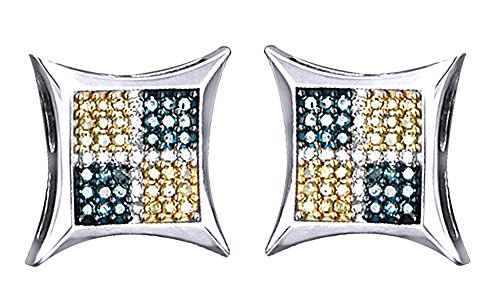14K Solid Gold Round Cut Natural Diamond Hip Hop Kite Stud Earrings (0.56 Cttw) by wishrocks