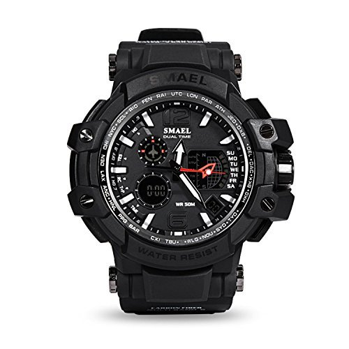Men's Sports Analog Digital Watches Water Resistant Casual Electronic Military LED Backlight-Black by SMAEL