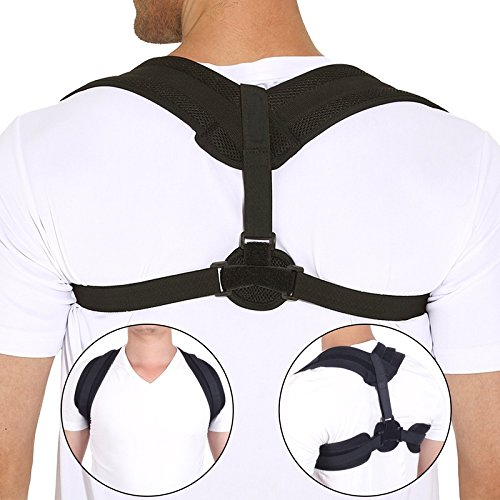 Back Brace Posture Corrector for Women & Men - Adjustable Posture Support for Shoulders - Back Pain Relief - Kyphosis Clavicle Brace Support Medical Device - Chest Support - Upper Back Pain -(S-M) by GrommE