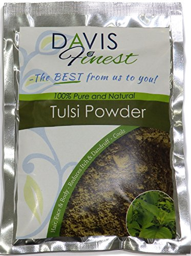 Tulsi Powder - Pure Natural Holy Basil Hair Growth and Itchy Scalp Treatment – Cooling Face Mask for Redness and Acne (100g)
