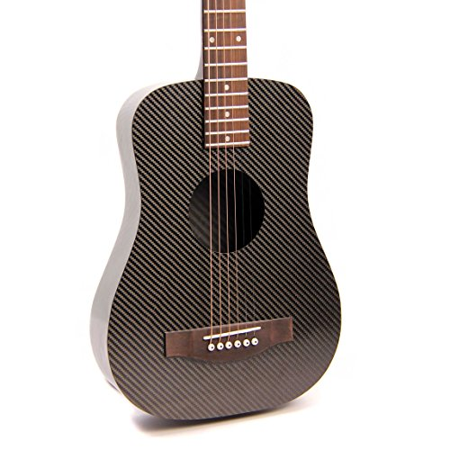 Klos Black Carbon Fiber Travel Acoustic Guitar Package Guitar Gig Bag Strap Capo And More
