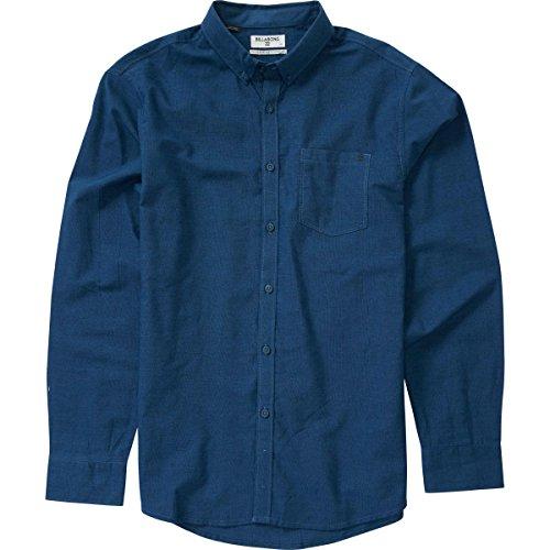 (Billabong Men's All Day Long Chambray Woven Long Sleeve Shirt, Navy/Blue, Large)