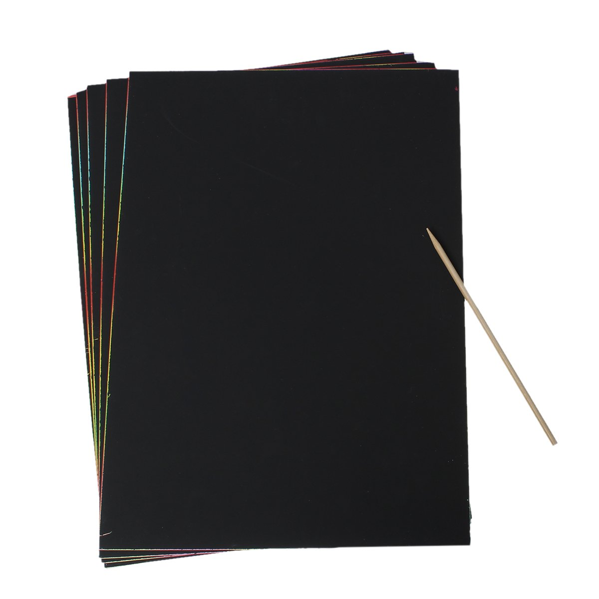 Souarts Black Magic Scratch Paper Art Painting Paper with Drawing Stick Pack of 5 Sheets Hellocrafts