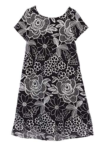 Price comparison product image Ava & Yelly Girls' Embroidered Tee Dress S (4) Black / White
