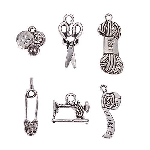 PH PandaHall 30pcs 6 Styles Tibetan Alloy Antique Silver Sewing Knitting Theme Pendants Charms for DIY Necklace Bracelet Making (Scissors, Pipe, Safety Pin, Yarn Clew, Button, Sewing Machine)