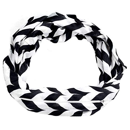 Womens Chevron Print Pattern Infinity Scarf Wrap with Zipper Pocket, Black and White, Best Travel Infinity Scarves for Women, Girls, Ladies