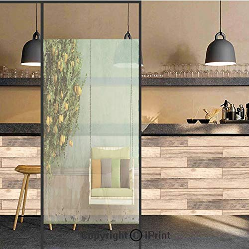 (3D Decorative Privacy Window Films,Vintage Wooden Swing in the Garden of an Old House with a Lemon Tree Summertime,No-Glue Self Static Cling Glass film for Home Bedroom Bathroom Kitchen Office 17.5x48)