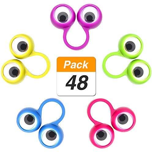 Lvcky 48Teile mit Kulleraugen Finger Puppets Wiggly Auge Finger Ringe Eye Finger Spielzeug Kids Party Favor, 5Farben 5Farben