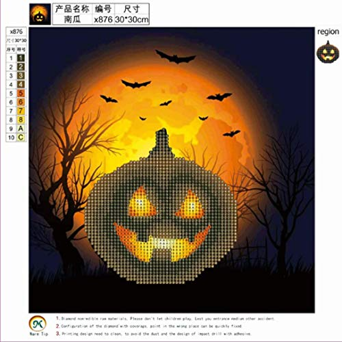 Vacally 5D DIY Diamond Painting Pumpkin Embroidery Round Diamond Home Halloween Decor Gift for Adults Kids Drill Rhinestone Embroidery for Wall Decoration -