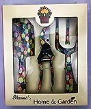 SHERRI'S HOME AND GARDEN Floral Garden Hand Tools - Set of 3 - Steel (Pineapple)
