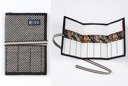 職人道楽 刺子 道具巻 10本用 スモールサイズ ちりめん柄 黒色 ツールバック