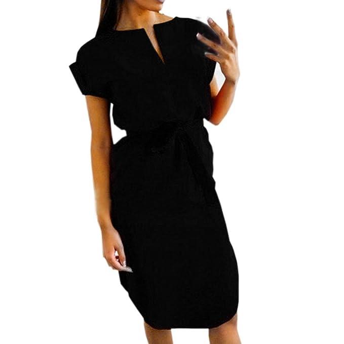 641e64cc8c4e Abito da donna casual estivo Abito da sera scollo a V manica corta Cintura vestiti  eleganti