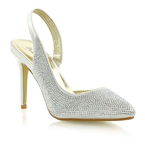 (ESSEX GLAM Womens Bridal Heels Ladies Satin Slingback Diamante Pointed Toe Shoes (8 B(M) US, Ivory Satin))