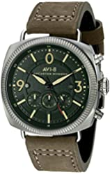AVI-8 Men's AV-4022-06 Lancaster Bomber Stainless Steel Watch with Beige Genuine Leather Band