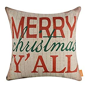 LINKWELL 18x18 inches Merry Christmas All Burlap Throw Pillow Cover Cushion Cover (CC1340)