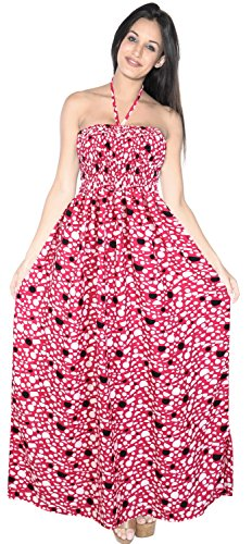 LA LEELA Soft  Printed Tie Dye Maxi Tube Halter Dresses Top Pink 1532 One Size