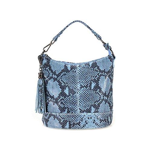 ITALYSHOP24.COM, Sac pour femme à porter à l'épaule Gris gris clair ca.: 26x27x15 cm (BxHxT) Himmelsblau