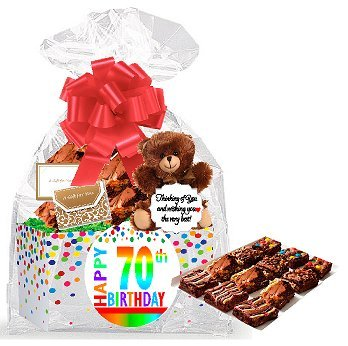 70th Birthday / Anniversary Gourmet Food Gift Basket Chocolate Brownie Variety Gift Pack Box (Individually Wrapped) 12pack