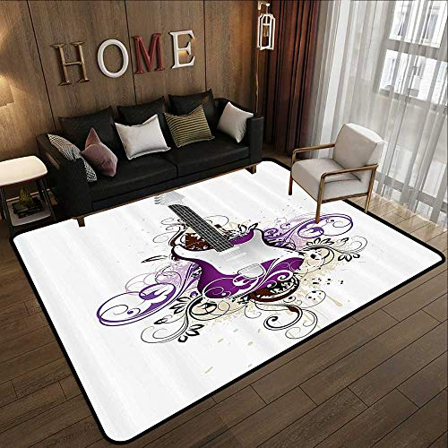 - Rugs for Outside,Music Decor,Bass Guitar Surrounded by Swirled Floral Lines Rock Electronic Design,Purple Light Grey 71