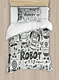 Ambesonne Robot Duvet Cover Set Twin Size, Futuristic Space Doodle Style Androids Sci Fi Pattern Fantasy Machine Art Print, Decorative 2 Piece Bedding Set with 1 Pillow Sham, Grey Pale Grey