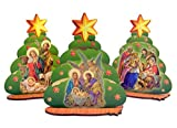 Wooden Standing Christmas Tree Figurine with Assorted Nativity Scenes, Set of 3, 4 1/2 Inch