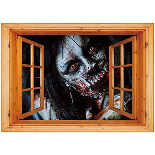 (3D Depth Illusion Vinyl Wall Decal Sticker [ Zombie Decor,Scary Dead Woman with Bloody Axe Evil Fantasy Gothic Mystery Halloween Picture,Multicolor ] Window Frame Style Home Decor Art Removable Wall)