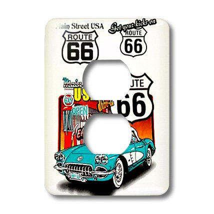 3dRose LLC lsp_1010_6 Route 66, 2-Plug Outlet - Light Switch 66 Route