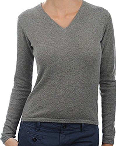 Balldiri 100% Cashmere Kaschmir Damen Pullover 2-fädig V-Ausschnitt graubraun meliert M