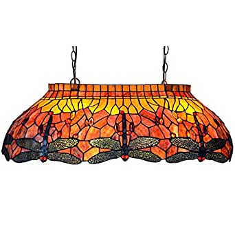 Bieye L10537 32-inches Dragonfly Tiffany Style Stained Glass Ceiling Pendant Fixture