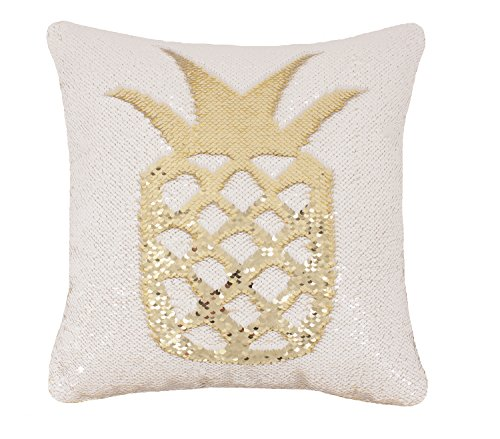 Idea Up Reversible Sequins Mermaid Pillow Cases 4040cm with magic mermaid sequin (white and gold) (Pillow White Sequin)