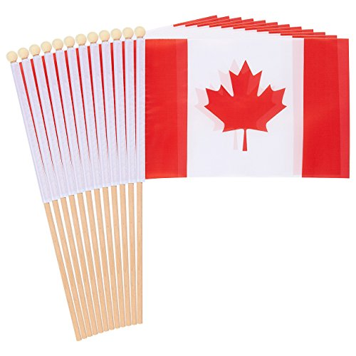 Juvale 12-Piece Canada Stick Flags - Canadian Hand-held Flags, Polyester Country Stick Flag Banners, Decorations for Parties, Parades, Sports Events, and International Festivals- 5.5 x 8.3 -